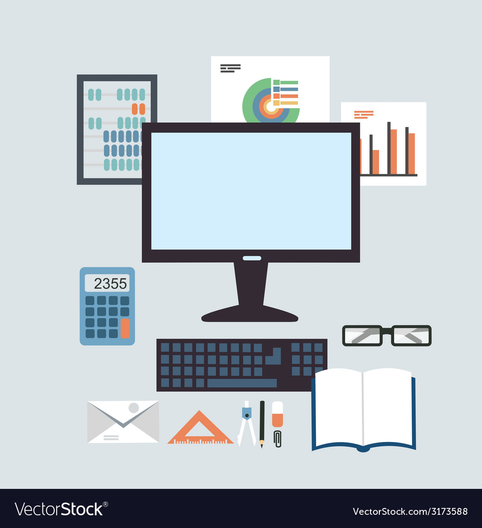 Desktop accounting vector | Price: 1 Credit (USD $1)