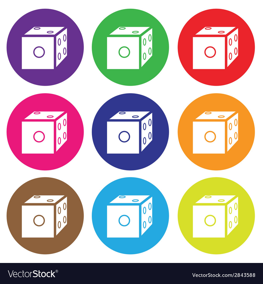 Dice icon color set vector | Price: 1 Credit (USD $1)