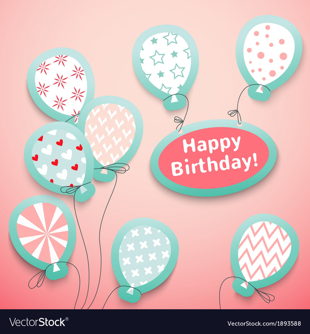 Happy birthday retro postcard with pattern vector | Price: 1 Credit (USD $1)