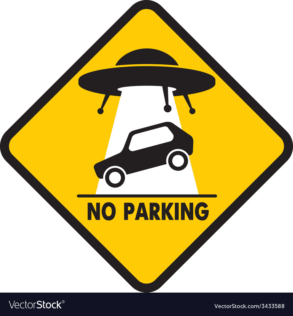 Road sign ufo abduction car vector | Price: 1 Credit (USD $1)