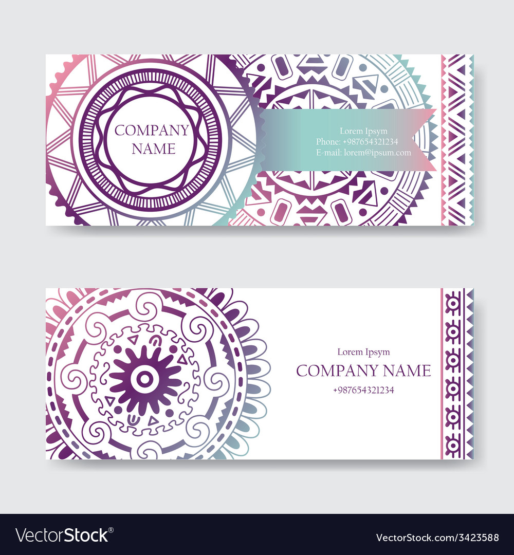 Set of business card or invitation card templates vector | Price: 1 Credit (USD $1)