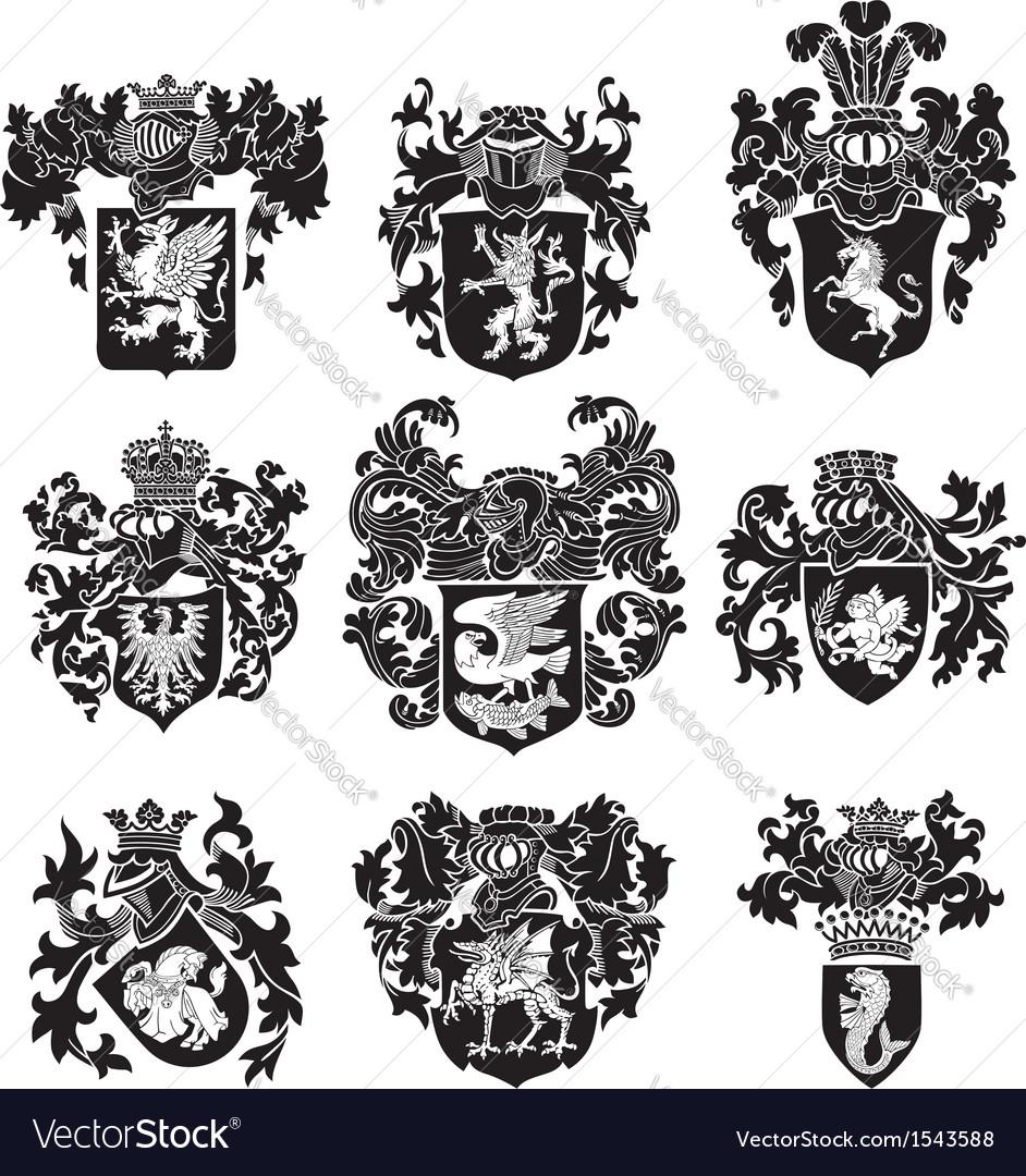 Set of heraldic silhouettes no3 vector | Price: 1 Credit (USD $1)