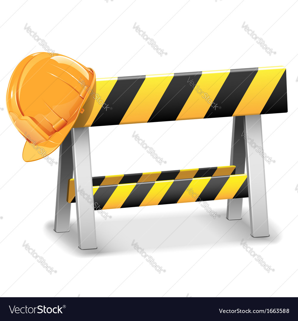 Under construction barrier with helmet vector | Price: 1 Credit (USD $1)