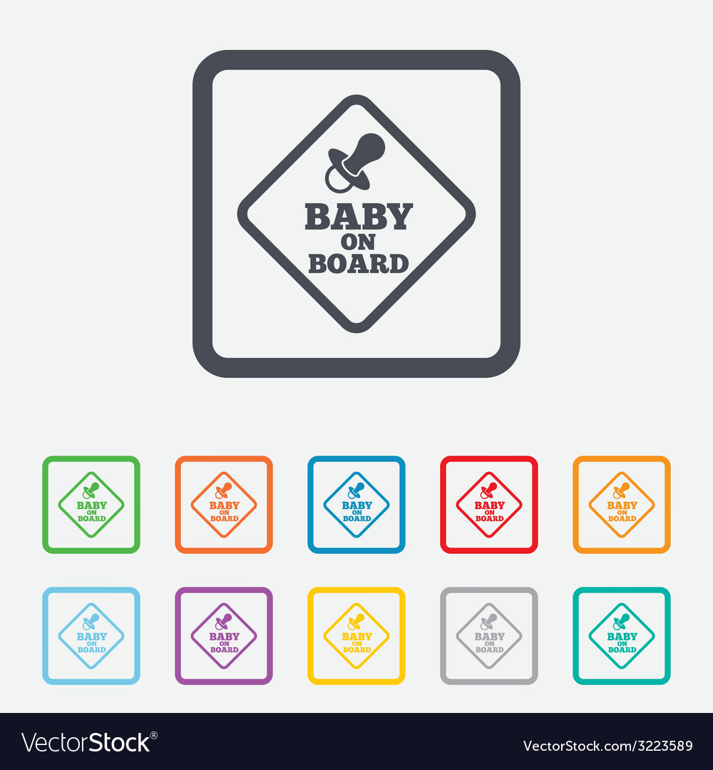 Baby on board sign icon infant caution symbol vector   Price: 1 Credit (USD $1)