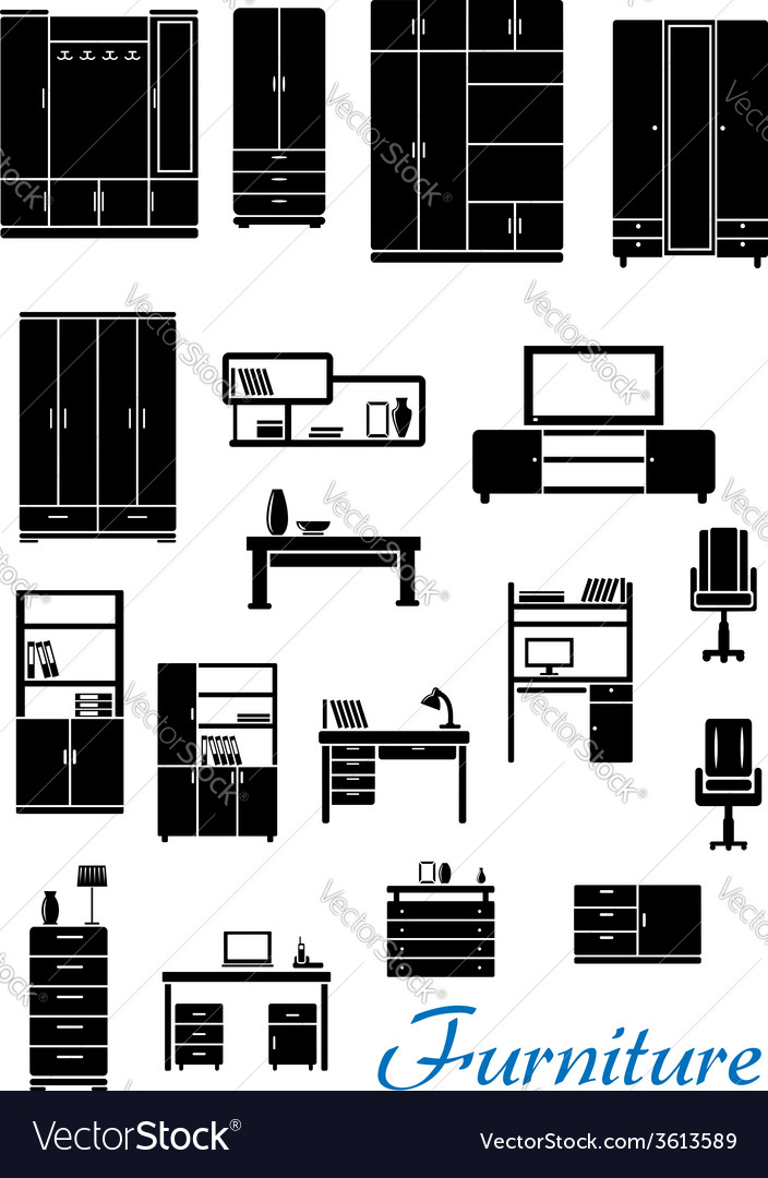 Black wooden furniture flat icons vector | Price: 1 Credit (USD $1)