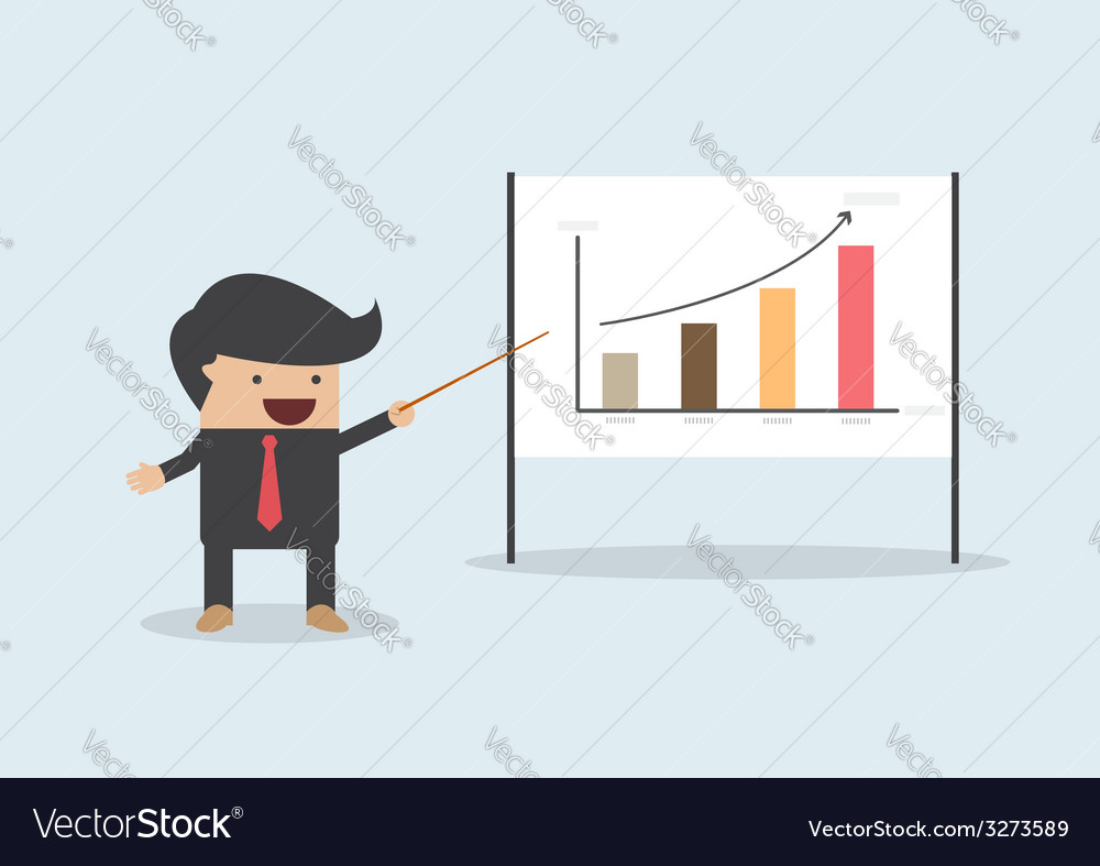 Businessman presenting and pointing the graph on b vector | Price: 1 Credit (USD $1)