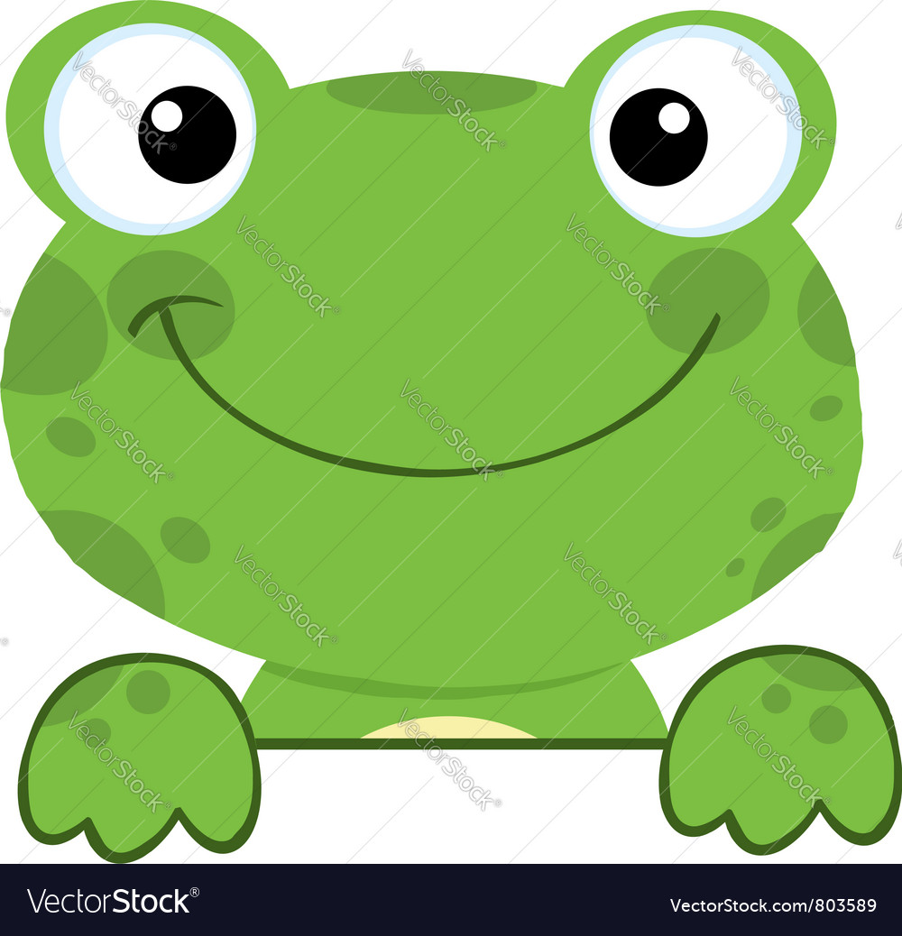 Cute frog smiling over a sign board vector | Price: 1 Credit (USD $1)