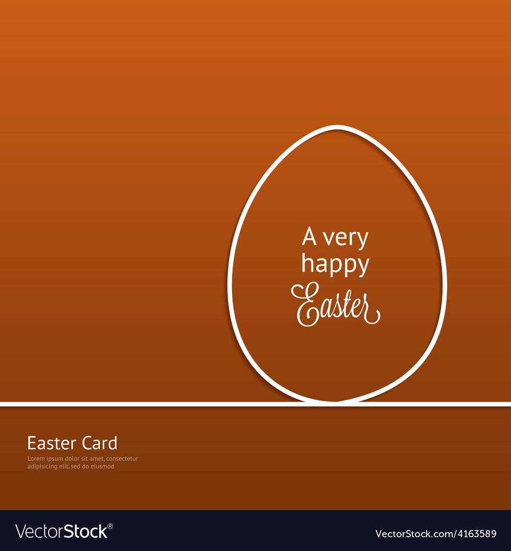 Easter card with silhouette line egg vector | Price: 1 Credit (USD $1)