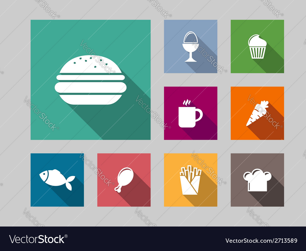 Flat food icons set vector | Price: 1 Credit (USD $1)