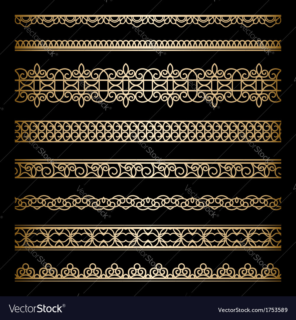 Gold borders set vector | Price: 1 Credit (USD $1)
