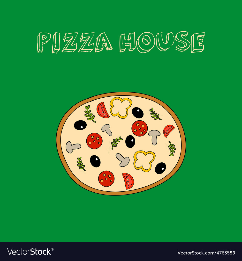 Hand drawn colorful pizza with slogan vector | Price: 1 Credit (USD $1)