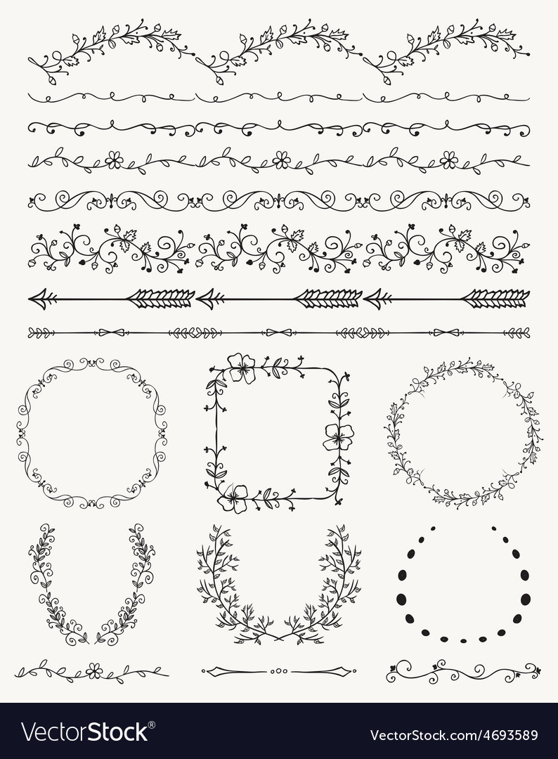 Hand sketched seamless borders frames dividers vector | Price: 1 Credit (USD $1)