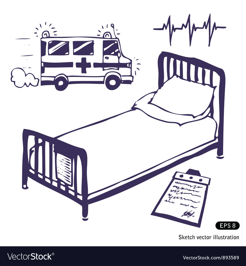 Hospital bed and ambulance vector | Price: 1 Credit (USD $1)