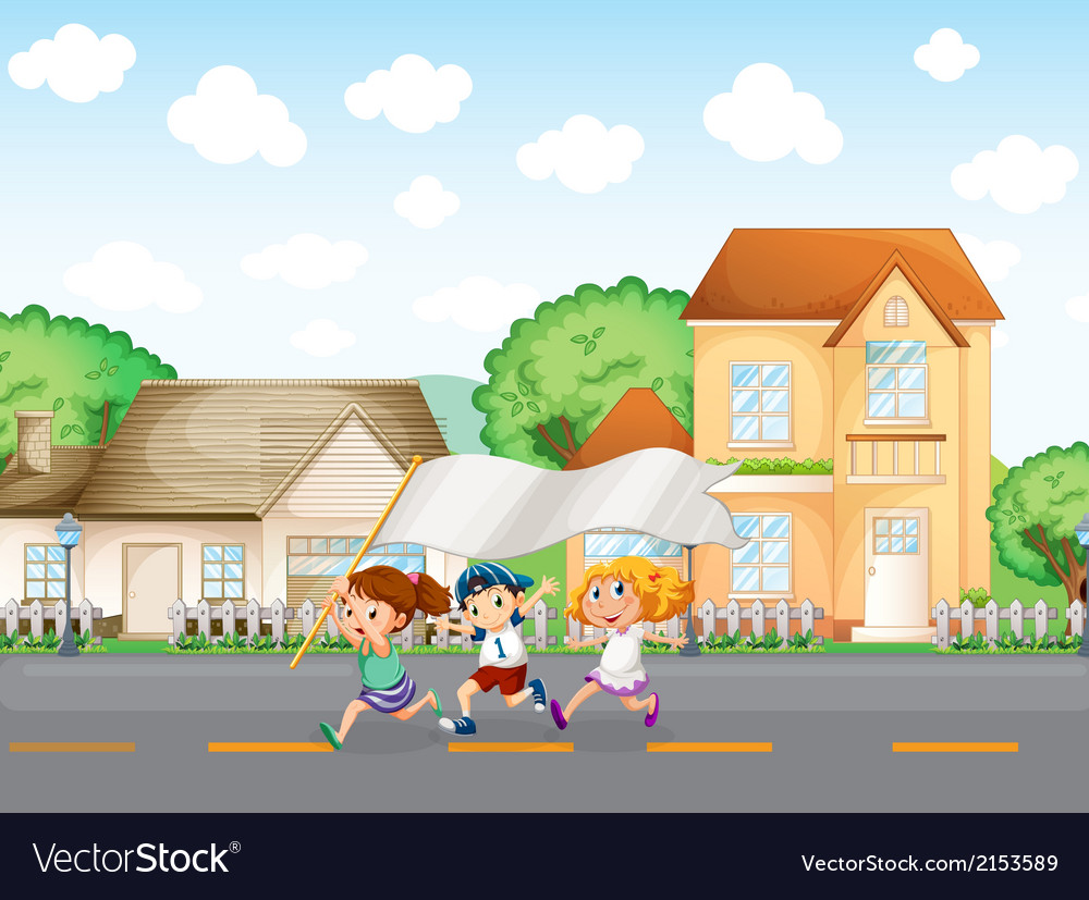 Kids outside the big houses with an empty banner vector | Price: 3 Credit (USD $3)