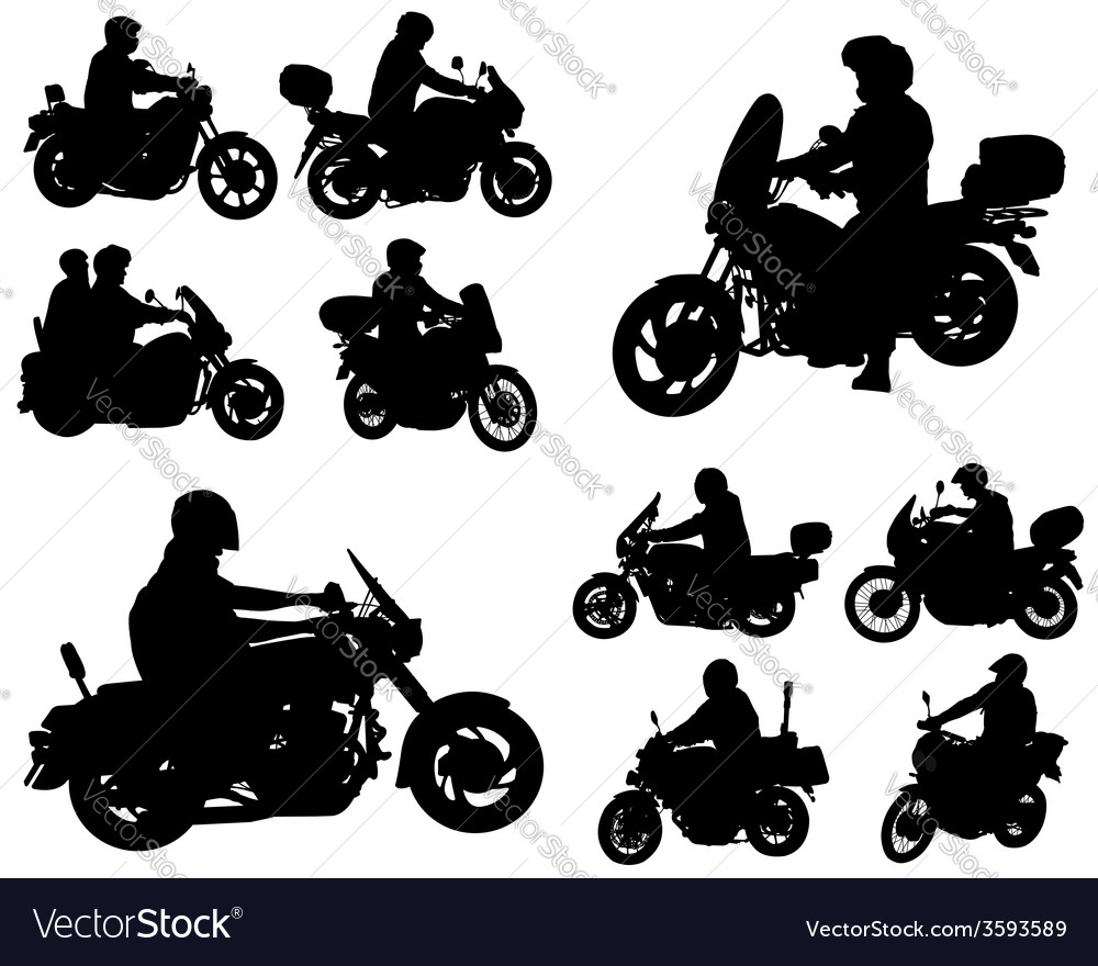 Motorcyclists silhouettes collection vector | Price: 1 Credit (USD $1)