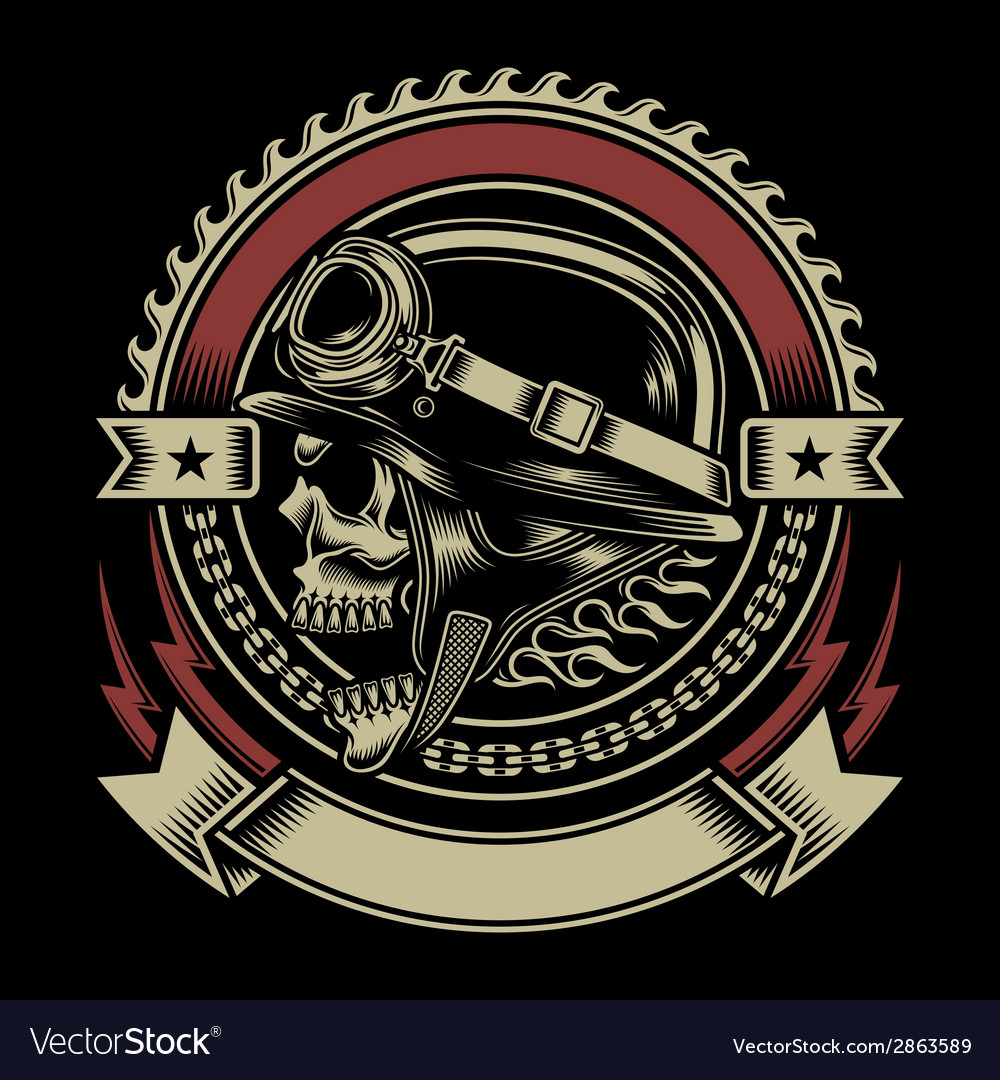 Vintage biker skull emblem vector | Price: 3 Credit (USD $3)