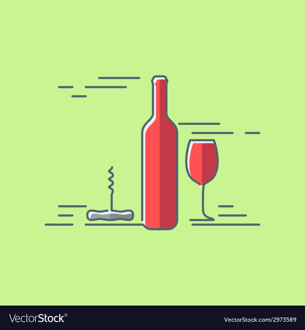 Wine glass bottle flat design background vector | Price: 1 Credit (USD $1)