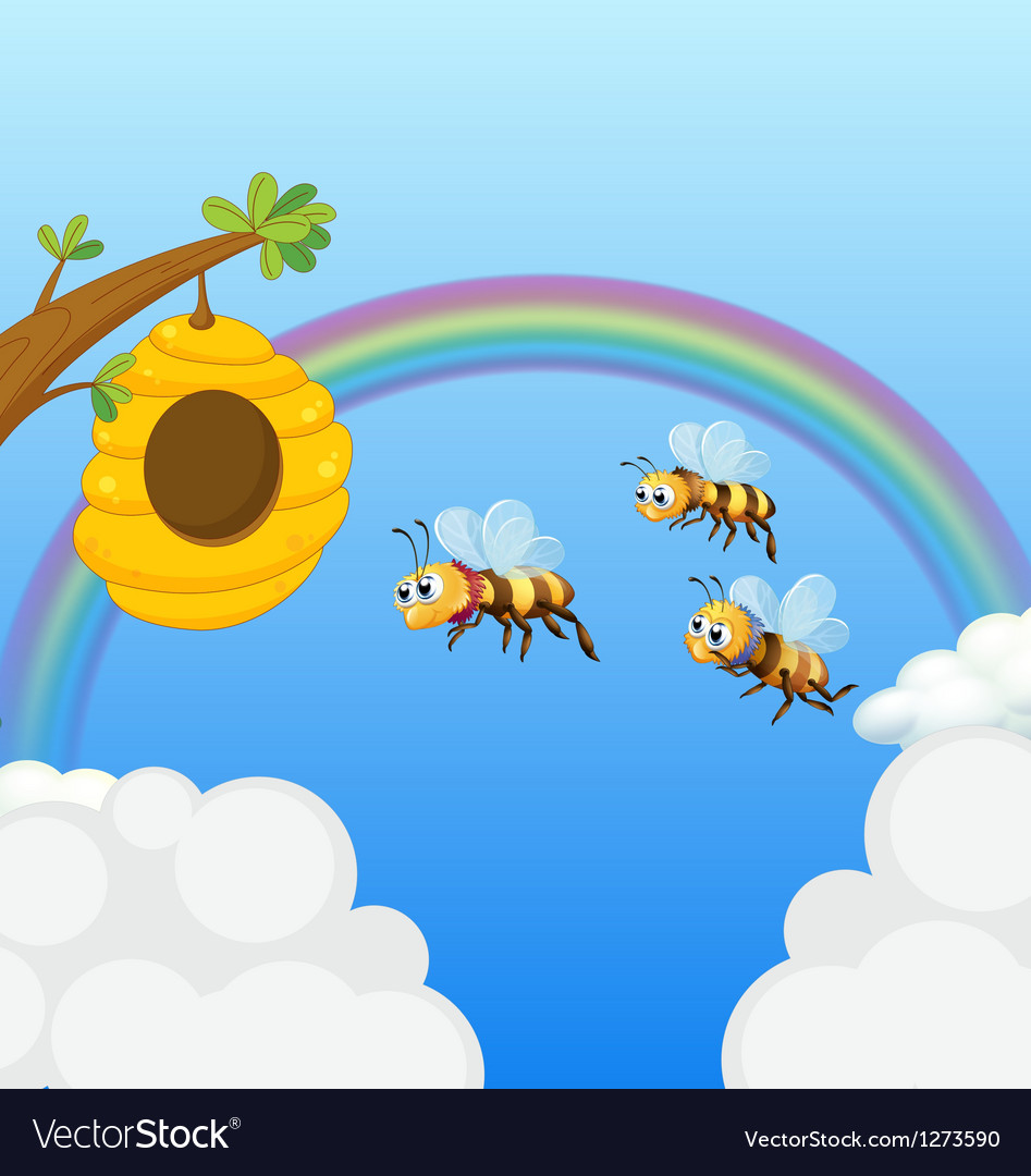 A beehive and the three bees vector | Price: 1 Credit (USD $1)