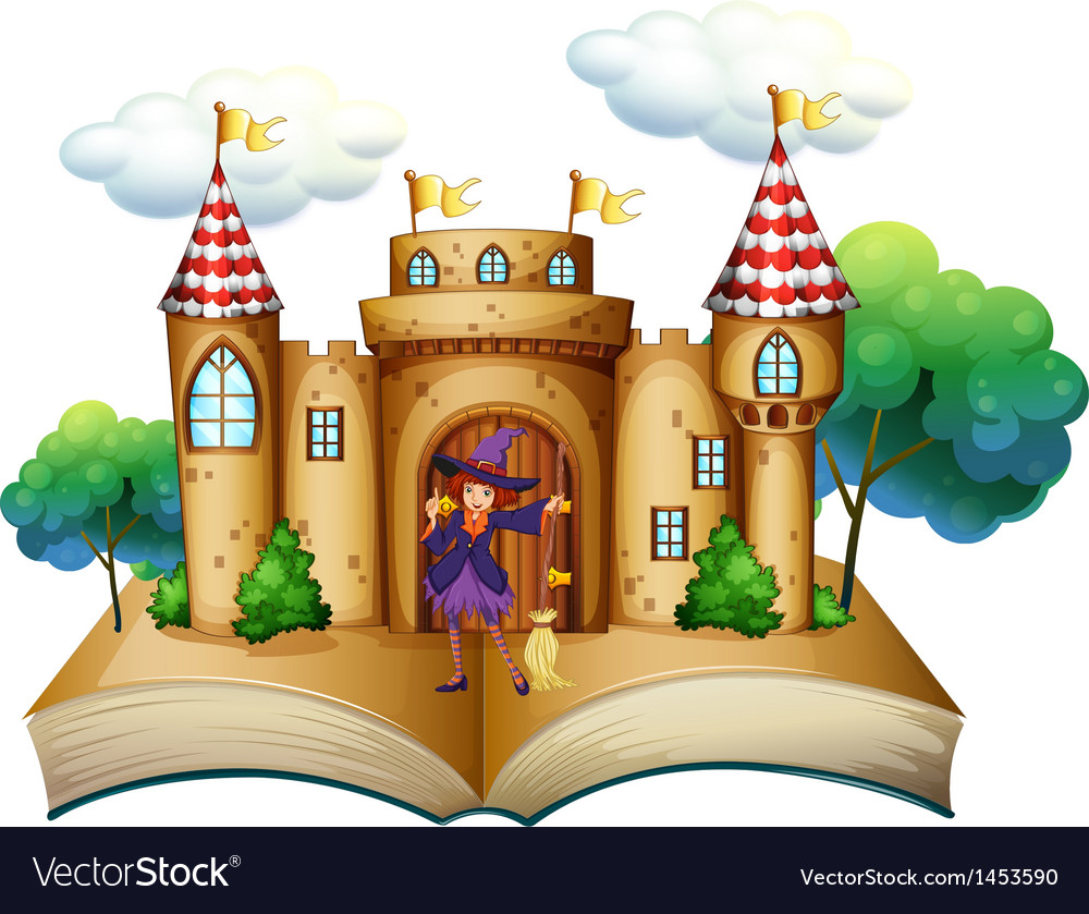 A storybook with a castle and a witch vector | Price: 1 Credit (USD $1)