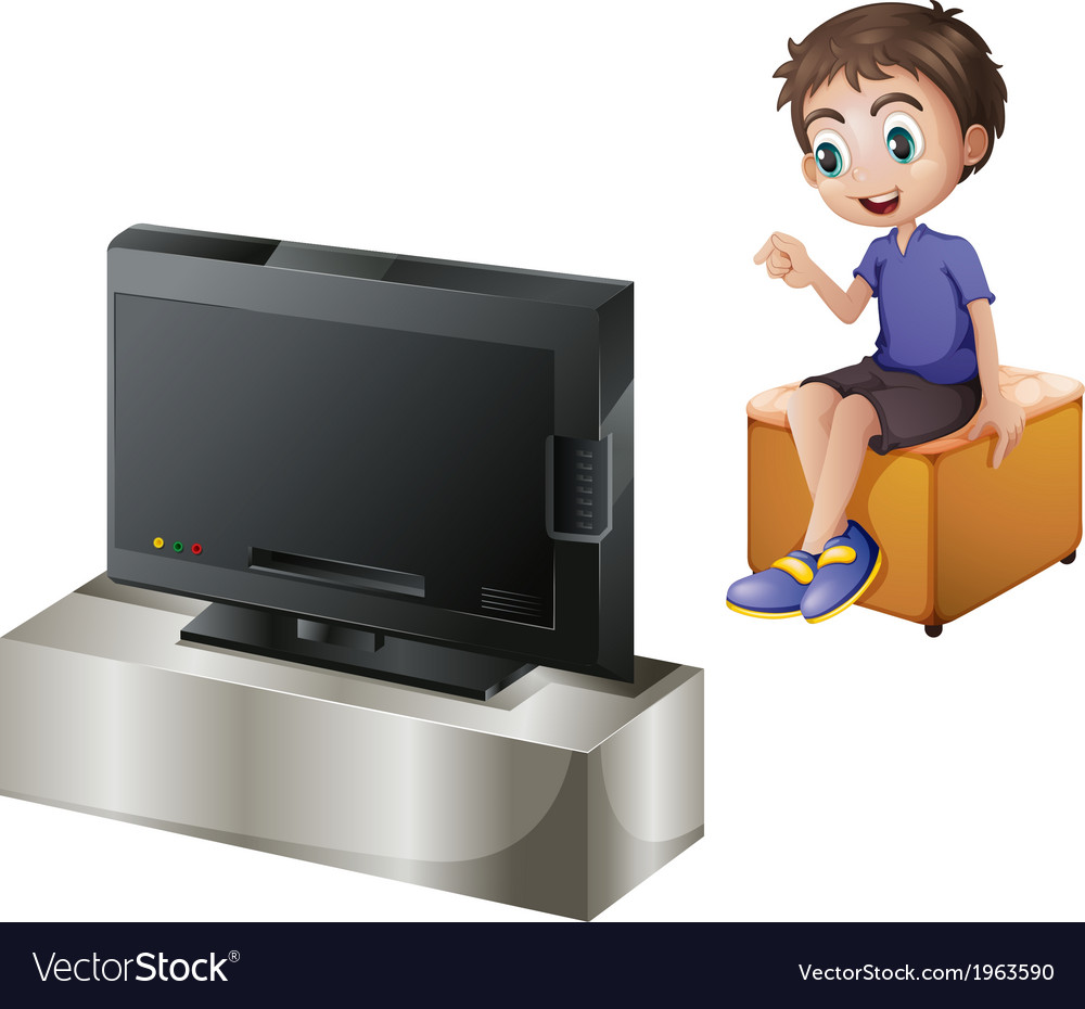 A young man watching tv vector | Price: 3 Credit (USD $3)