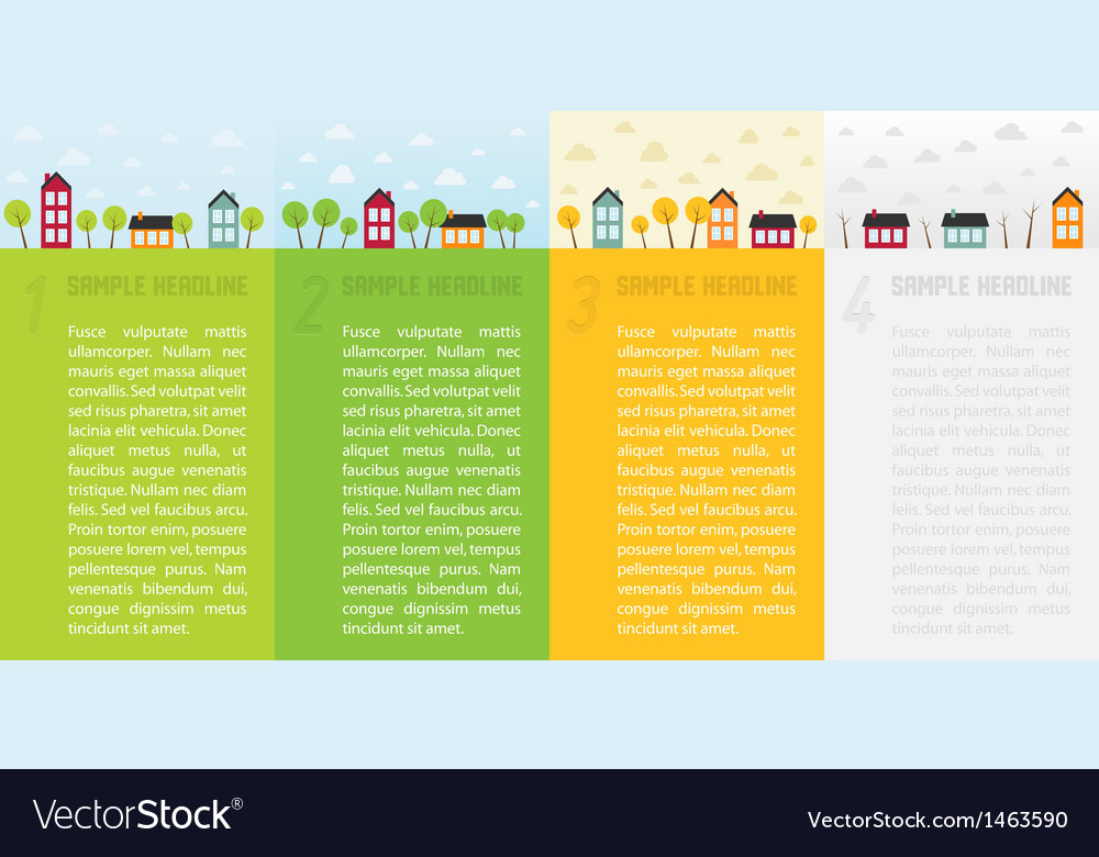Banners with small town in different seasons vector | Price: 1 Credit (USD $1)