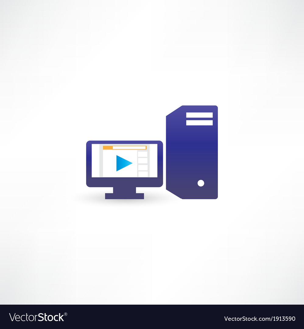 Blue computer with play vector | Price: 1 Credit (USD $1)