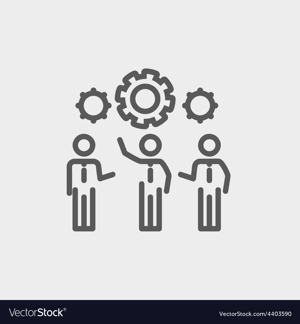 Businessmen holding a gear of machine thin line vector | Price: 1 Credit (USD $1)
