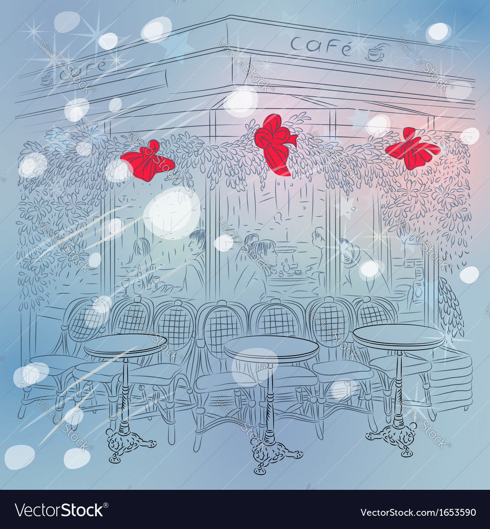 Christmas sketch of the parisian cafe vector | Price: 1 Credit (USD $1)