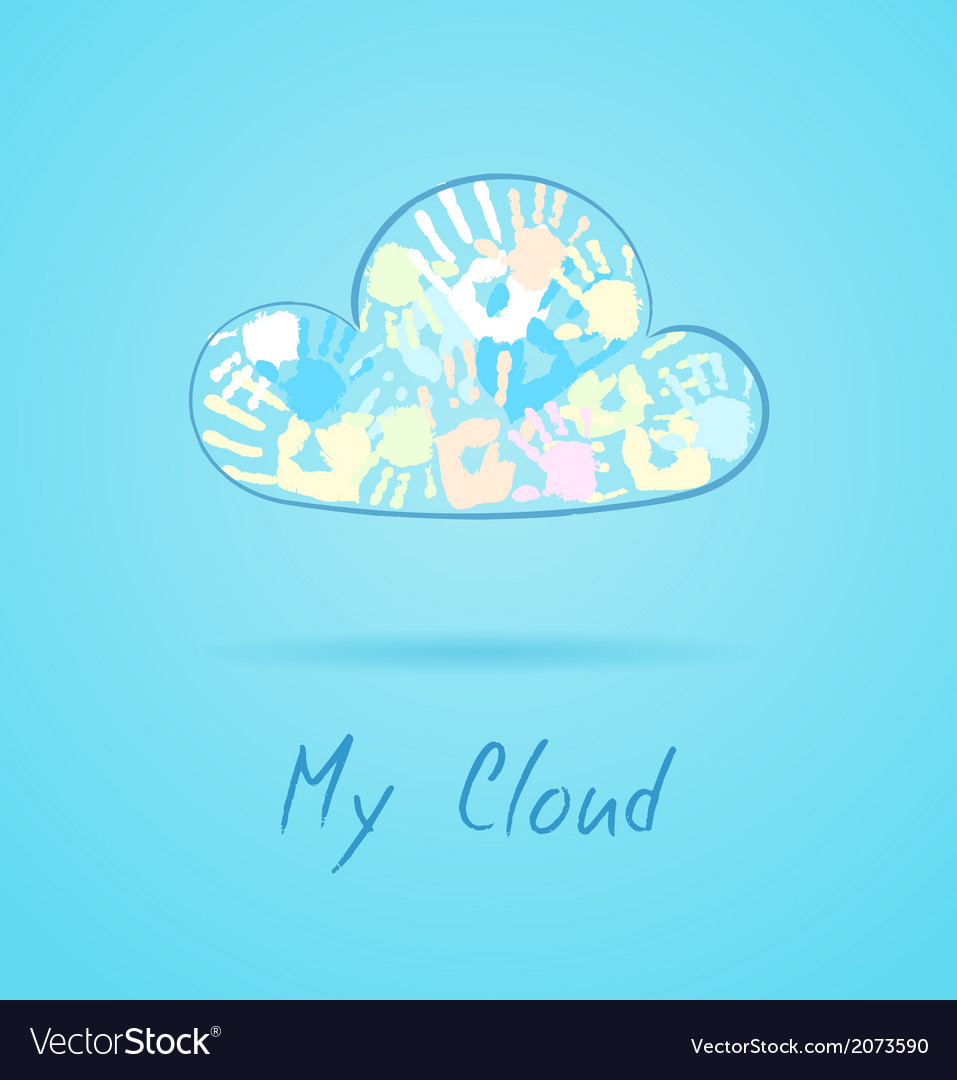 Cloud made from color hands on blue background vector | Price: 1 Credit (USD $1)