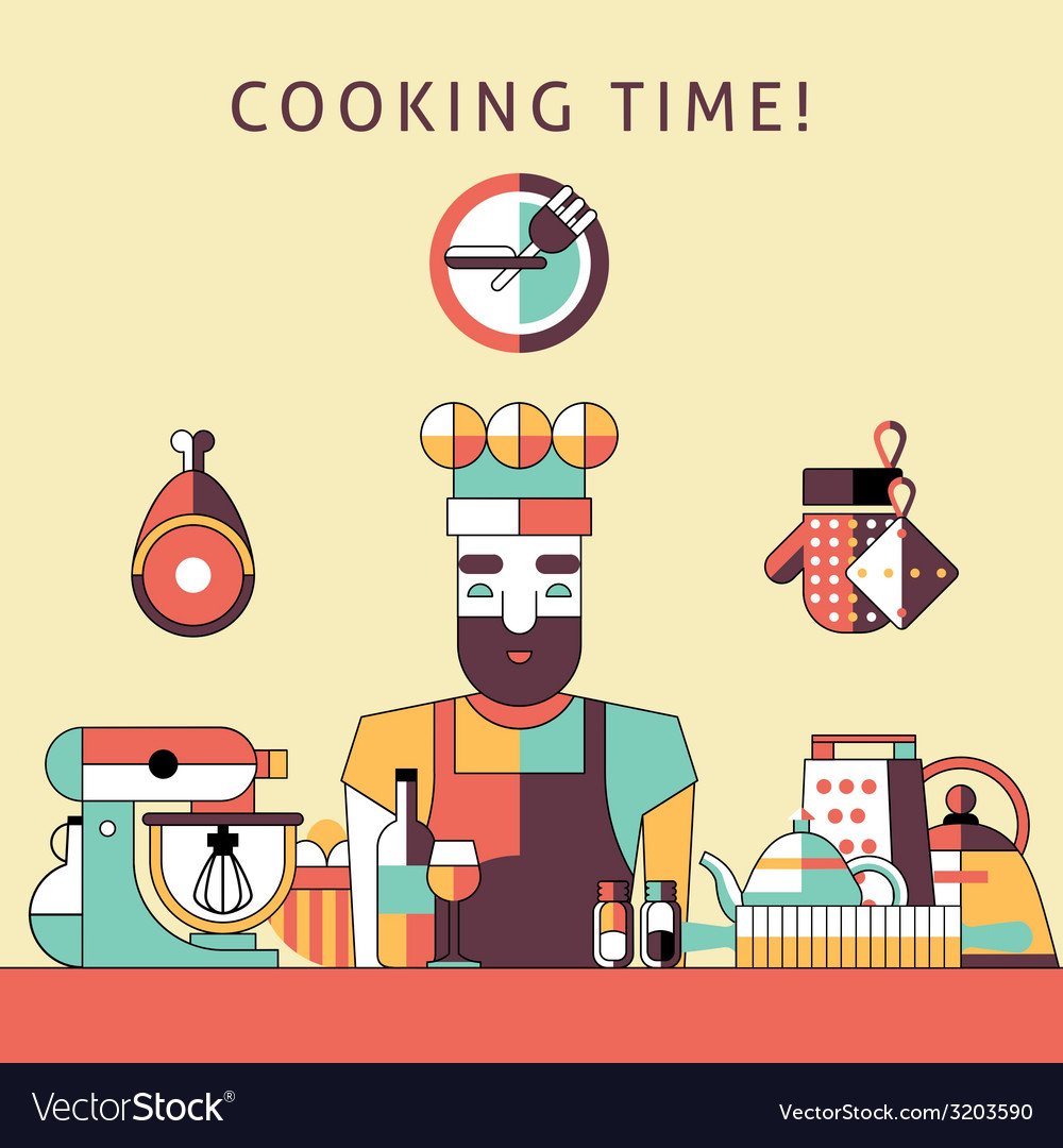 Cooking time poster vector | Price: 1 Credit (USD $1)