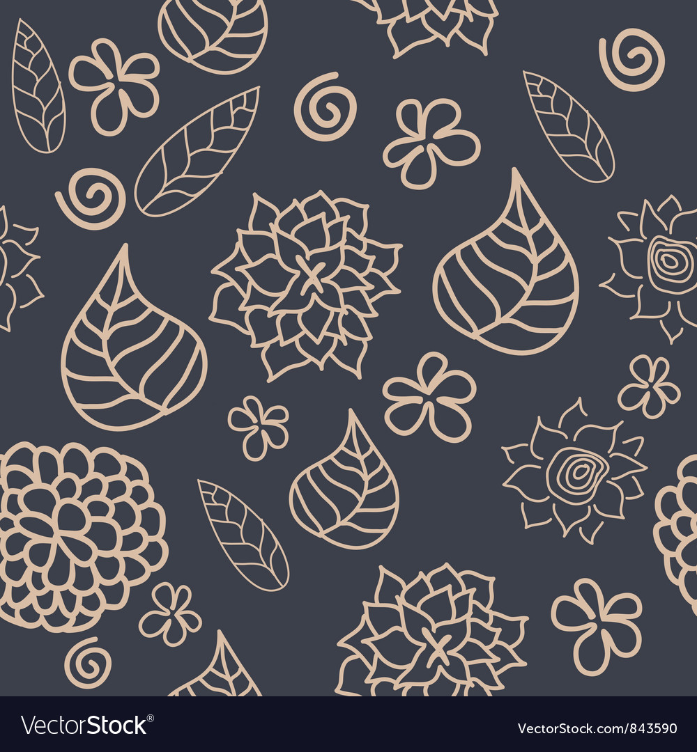 Floral seamless pattern in retro style vector | Price: 1 Credit (USD $1)