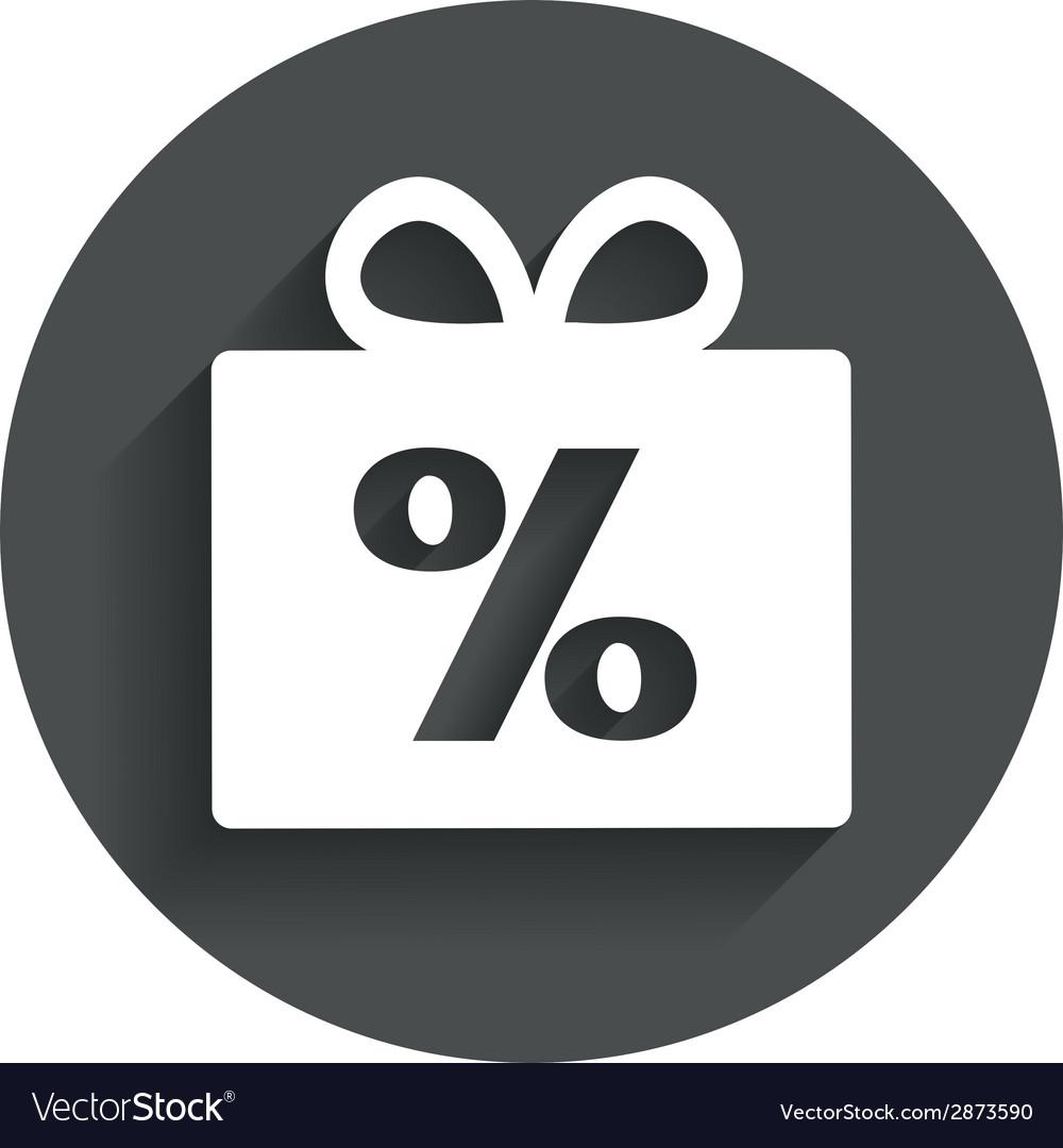 Gift box sign discount icon present symbol vector | Price: 1 Credit (USD $1)