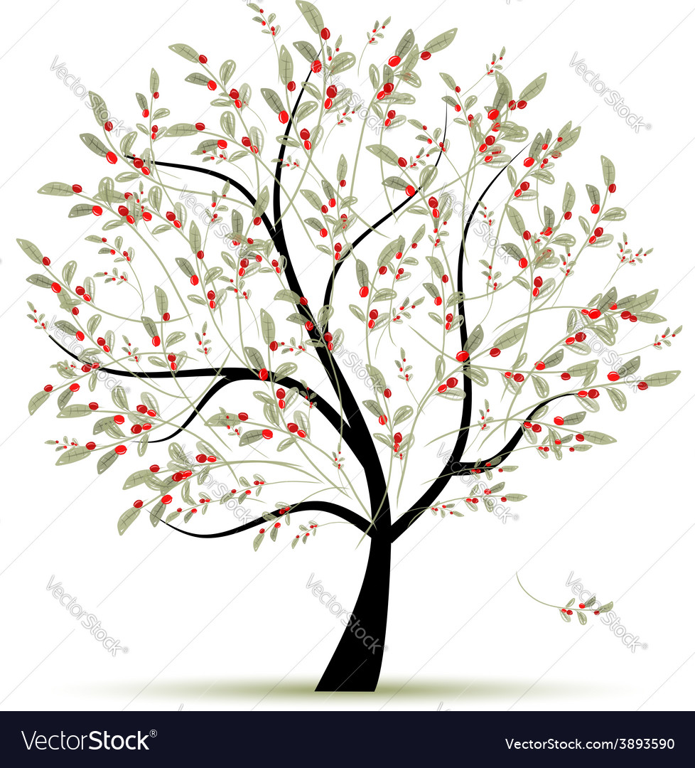 Green tree with red berries for your design vector | Price: 1 Credit (USD $1)