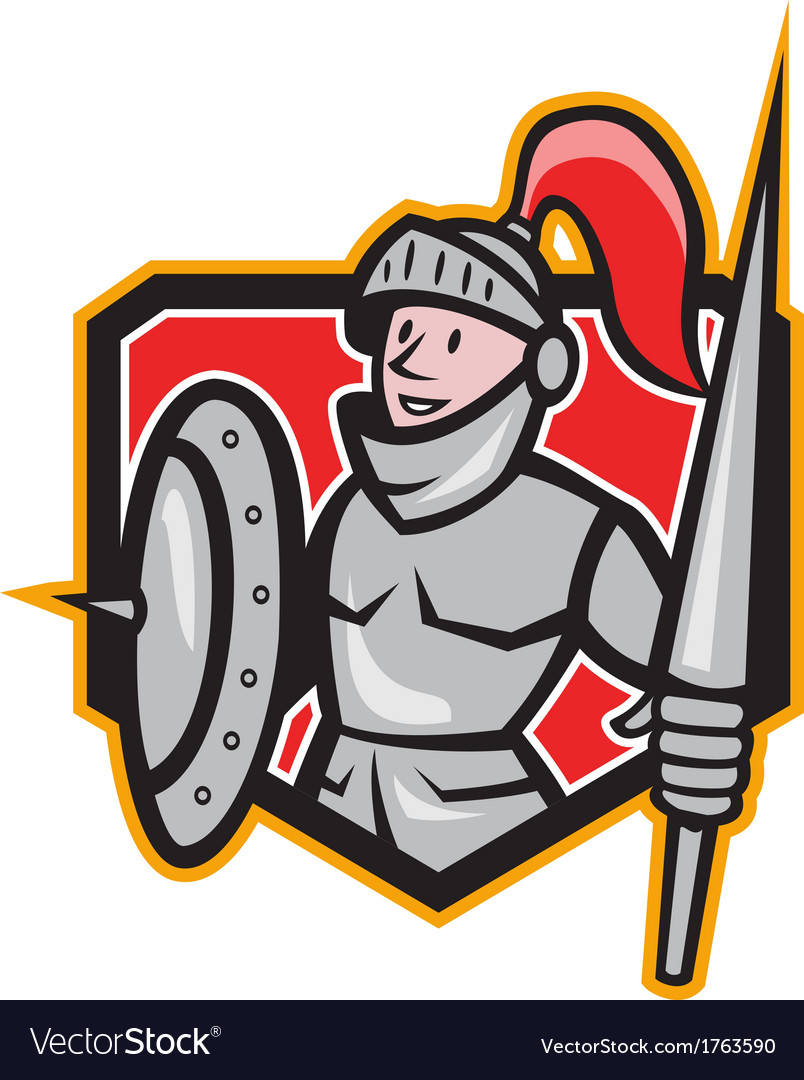 Knight shield lance crest cartoon vector | Price: 1 Credit (USD $1)