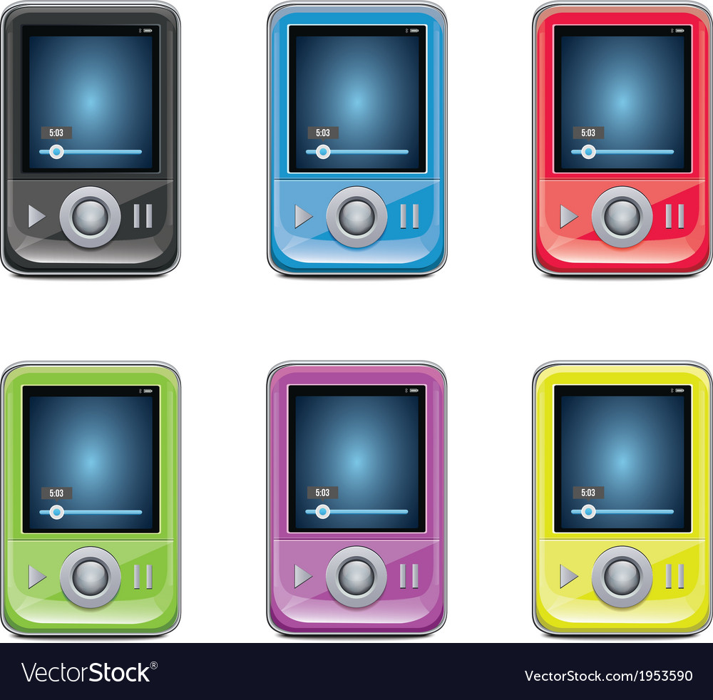 Mp3 player set vector | Price: 1 Credit (USD $1)