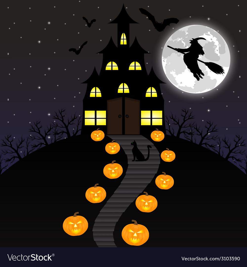 Night landscape on halloween vector | Price: 1 Credit (USD $1)