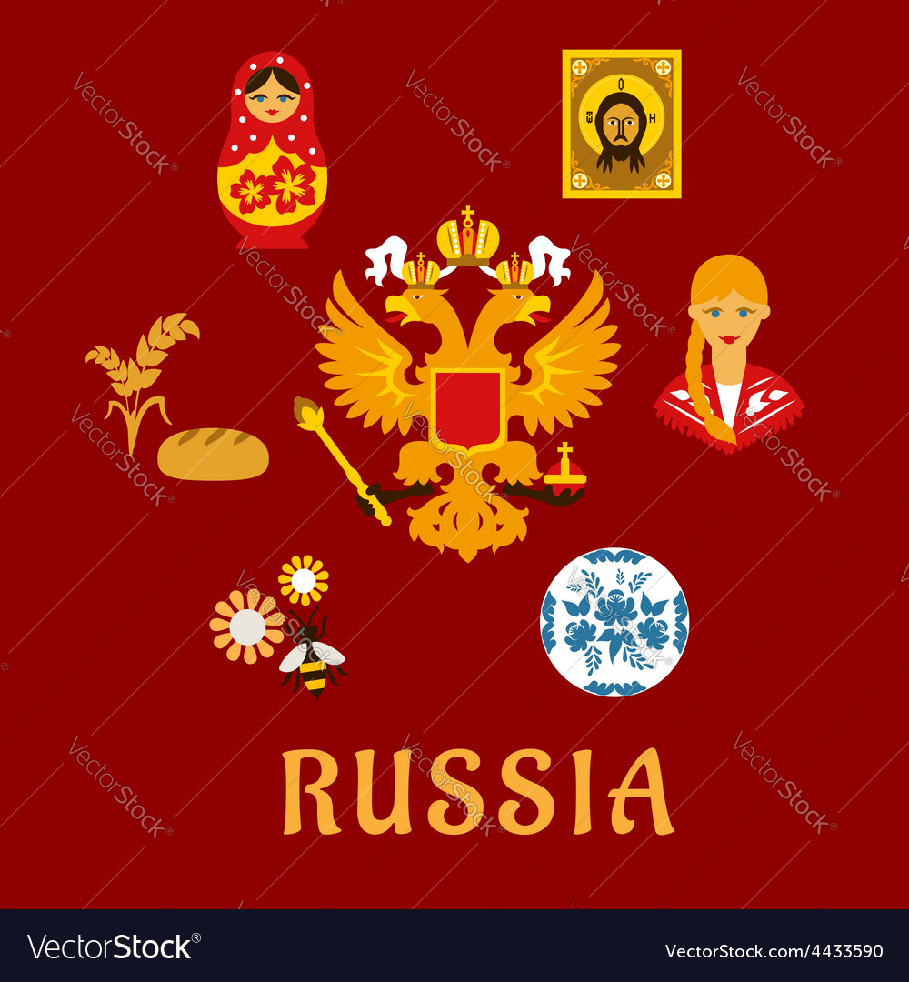 Russian traditional national flat symbols vector | Price: 1 Credit (USD $1)