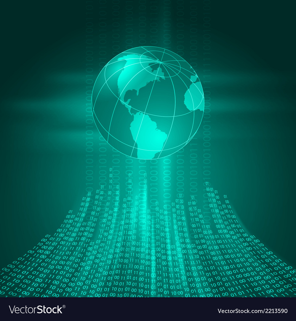 Stream of binary code to the earth vector | Price: 1 Credit (USD $1)