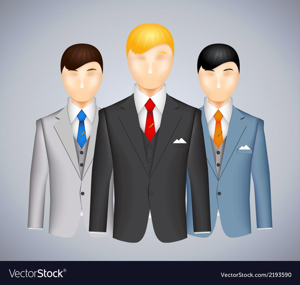 Trio of businessmen in suits vector | Price: 1 Credit (USD $1)