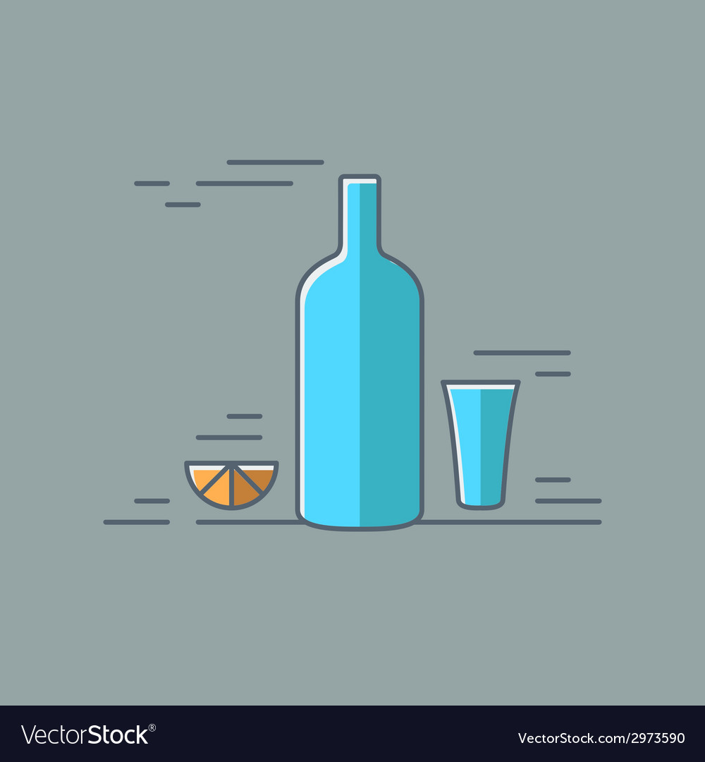 Vodka glass bottle flat design background vector | Price: 1 Credit (USD $1)