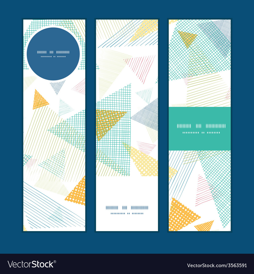 Abstract fabric triangles vertical banners set vector | Price: 1 Credit (USD $1)