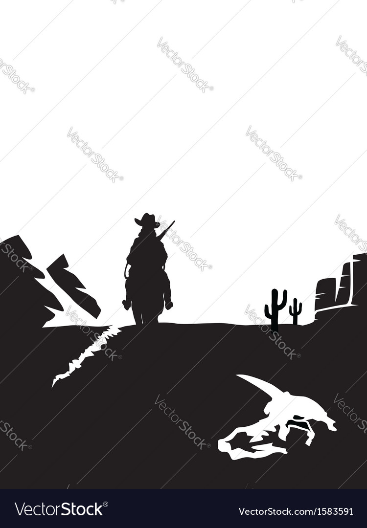 Black and white cowboy riding a horse in the vector | Price: 1 Credit (USD $1)