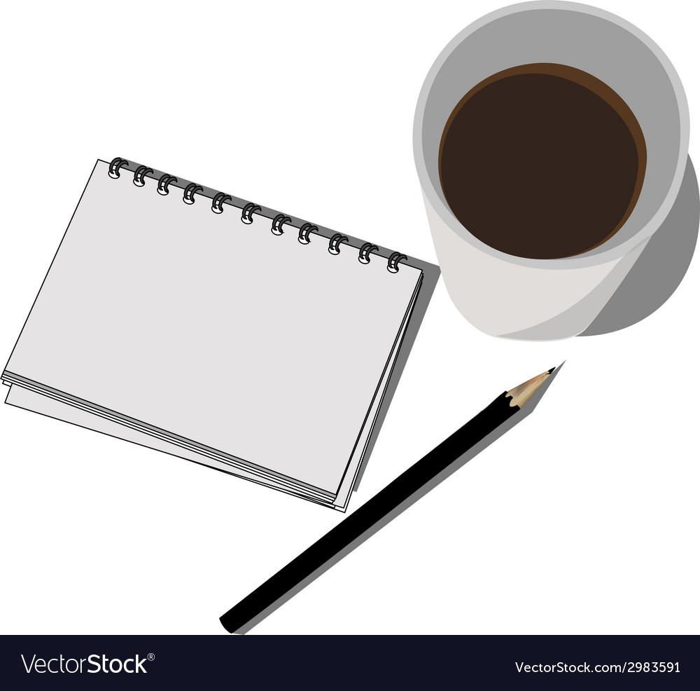 Block notes pencil and cofee vector   Price: 1 Credit (USD $1)