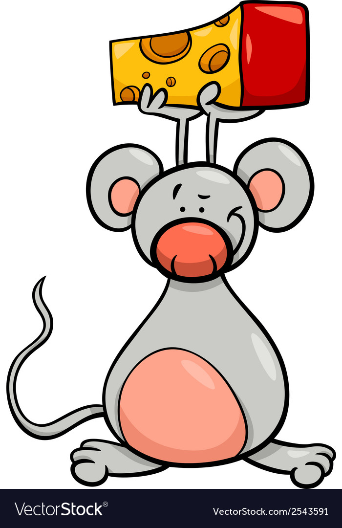 Cute mouse with cheese cartoon vector | Price: 1 Credit (USD $1)