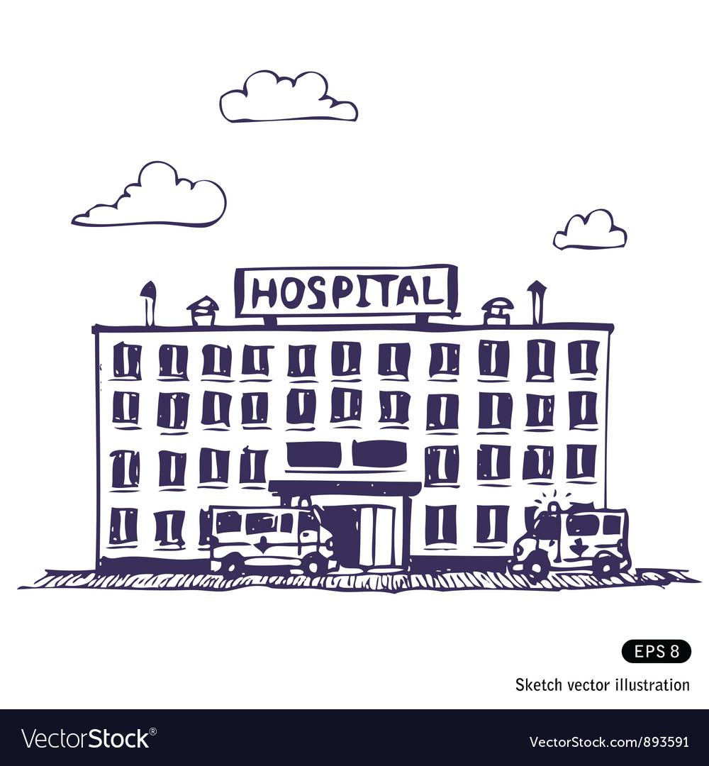 Hospital building vector | Price: 1 Credit (USD $1)