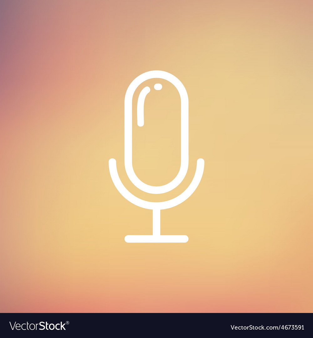 Old microphone thin line icon vector | Price: 1 Credit (USD $1)