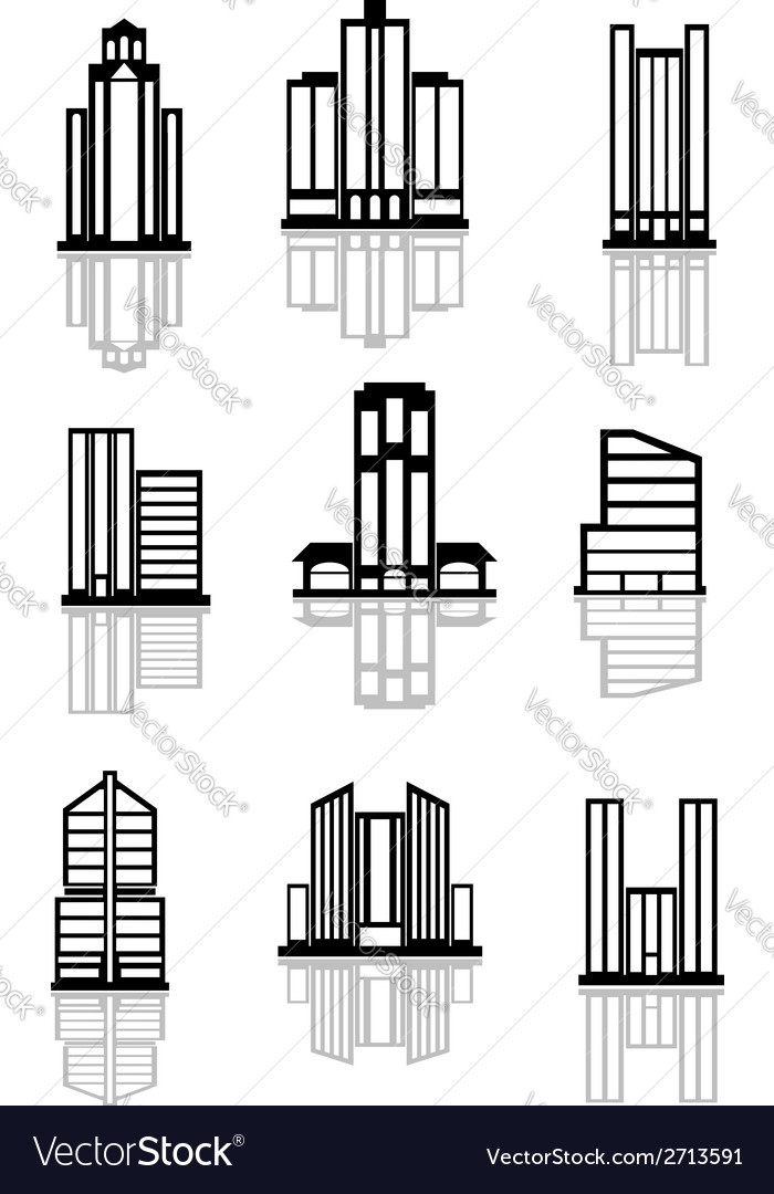 Skyscraper and office building icons vector | Price: 1 Credit (USD $1)