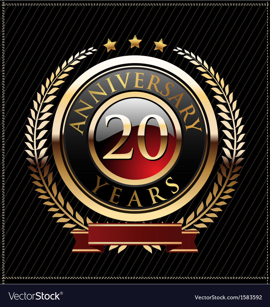 20 years anniversary golden label vector | Price: 1 Credit (USD $1)