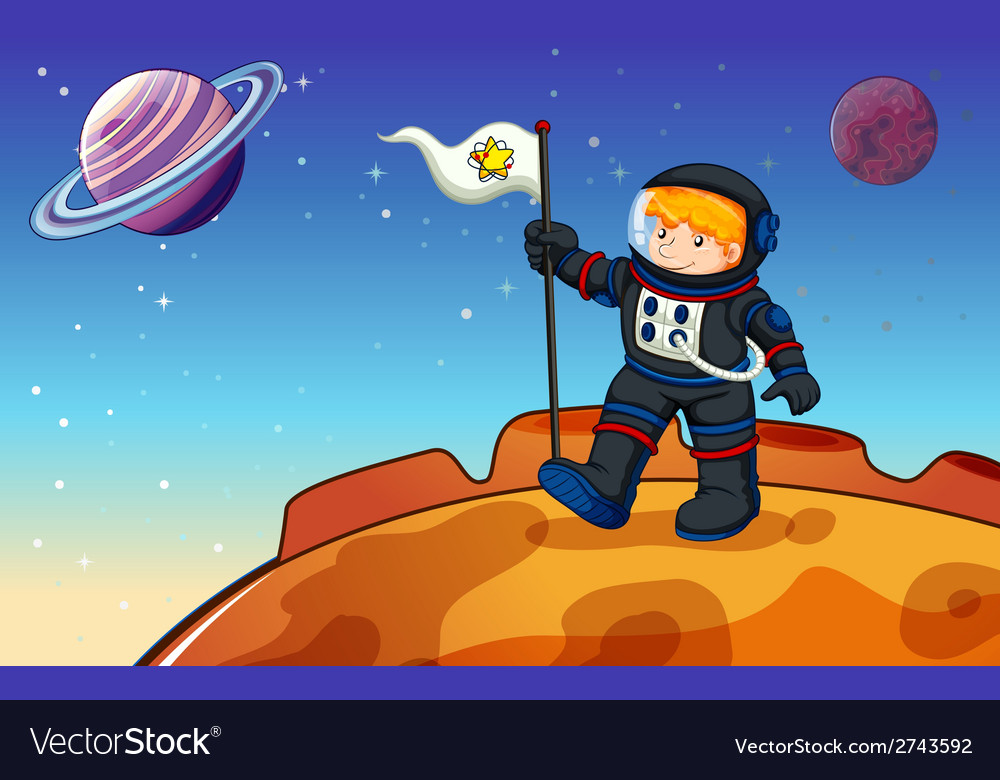 A man in the outerspace with a banner vector | Price: 1 Credit (USD $1)