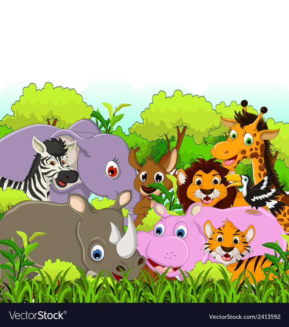 Animal cartoon with tropical forest background vector | Price: 1 Credit (USD $1)